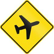 New Zealand road sign - Watch for low-flying aircraft - stock illustration