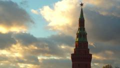 Star rotating above Moscow Kremlin tower, time lapse with beautiful clouds Stock Footage