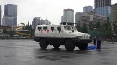 Armored Security Truck Tianfu Square City Of Chengdu China Stock Footage