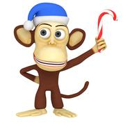 3d funny monkey in santa claus hat with candy cane Stock Illustration