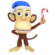 3d funny monkey in santa claus hat with candy cane - stock illustration