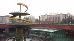 Tech Museum And Courtyard of Tianfu Square On Rainy Day Chengdu China Stock Footage