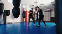 Train Wrestling. Training in freestyle wrestling. Athletes fulfill shots Stock Footage