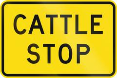 New Zealand road sign - Cattle stop - stock illustration