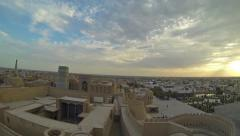 KHIVA, UZBEKISTAN - OCTOBER 2, 2015: Evening panorama of Khiva from Kuhna Ark Stock Footage