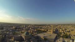 Panorama of ancient city of Khiva. Aerial view from top of a minaret. Stock Footage