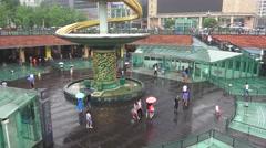 Courtyard of Tianfu Square On Rainy Day Chengdu China Stock Footage