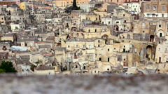 View of Matera Sassi, Puglia, Italy, from a parapet. Stock Footage