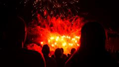 People Filming and taking pictures of Fireworks Display New Year Celebration Stock Footage