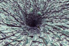 Black hole money - stock illustration