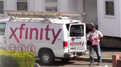 Comcast Xfinity cable tv repair man - stock footage