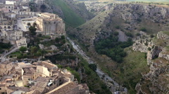 Pan shot of Matera Sassi, Puglia, Italy. Stock Footage