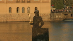 Soldier statue with sword near Vltava River, Prague Stock Footage