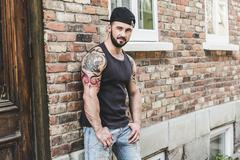 A sexy man with tattoo Stock Photos