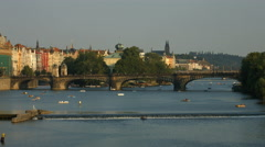 Legion Bridge and Vltava River in Prague Stock Footage