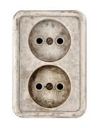 Old dirty electrical outlet - stock photo