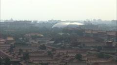 Beijing skyline, Forbidden City roofs, China Stock Footage