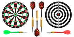 Dart board and darts on white background Stock Photos
