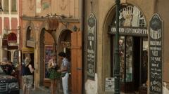 Restaurants and shops on Nerudova Street, Prague Stock Footage