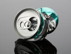 Crumpled beverage can - stock photo