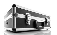 Metal briefcase isolated on white background - stock photo