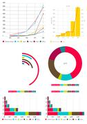 Colorful chart infographic documents on the office desk indoor Stock Illustration