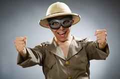 Stock Photo of Man wearing safari hat in funny concept