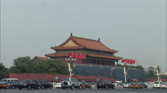 Traffic by Tiananmen Gate, Beijing, China Stock Footage