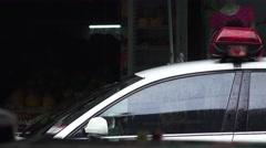 Windsheild On Police Car On Rainy Day Stock Footage