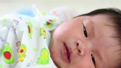 Closeup of Newborn Baby, 7 days old Stock Footage