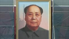 Mao poster, Forbidden City, Beijing, China - stock footage