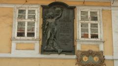 Information stone about Jan Neruda in Prague Stock Footage