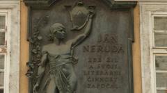 Jan Neruda information stone in Prague Stock Footage
