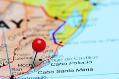 Rocha pinned on a map of America - stock photo