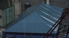 Rooftop Of Tent In Rain Stock Footage