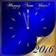 Vector illustration of 2016 new year gold and blue greeting with curled corner - stock illustration