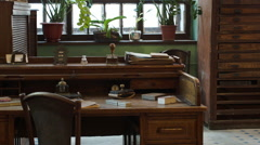Antique desk at a Soviet printing press factory in Russia Stock Footage