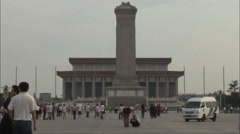 Police van on Tiananmen Square, China Stock Footage