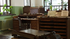 Movable type metal casting desk at a vintage Soviet printing press factory Stock Footage