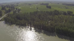 Aerial Panorama of Riverside Flooding Stock Footage