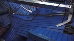 Stock Video Footage of Sheet Metal Rooftop In Rainstorm Chengdu China