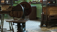 Screw press Gutenberg in a vintage Soviet typography factory in Russia Stock Footage