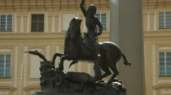 Statue of St. George slaying the dragon in Prague - stock footage