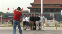 Chinese tourists in Tiananmen Square, Beijing Stock Footage