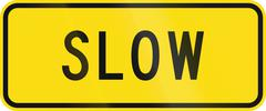 Advisory road sign in New Zealand warning drivers to proceed slowly - stock illustration
