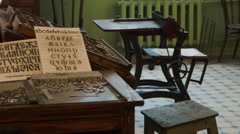 Typesetting movable type desk at a vintage Soviet typography factory Stock Footage