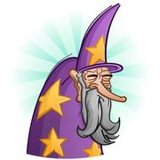 Wise Old Bearded Wizard Cartoon Character - stock illustration