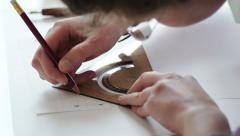 Stock Video Footage of Woman artist preparing for calligraphy work