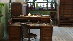 Vintage desk at a Soviet printing press office in Russia Stock Footage
