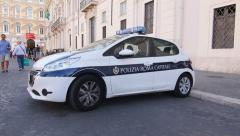 Roman police car with tourists on Segways passing. Rome, Italy. Stock Footage